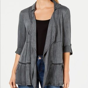 Style&Co Tiered Roll Tab Sleeve Jacket
